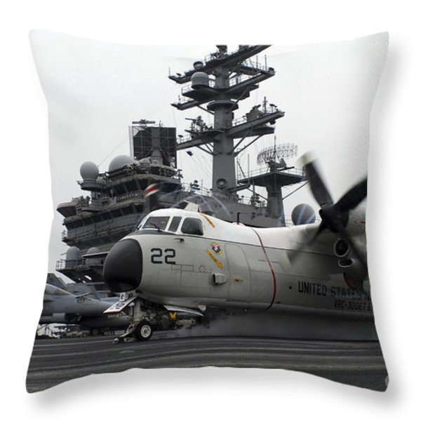 A C-2a Greyhound Launches Throw Pillow by Stocktrek Images