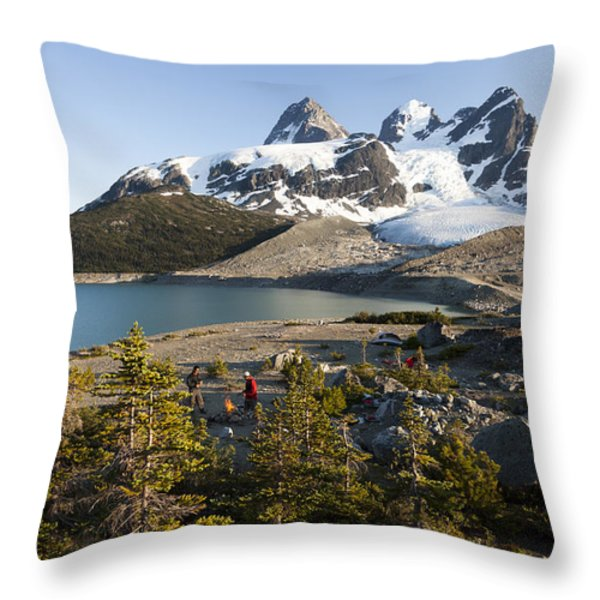 A Campsite Next To A Blue Glacier Fed Throw Pillow by Taylor S. Kennedy
