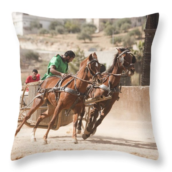 A Chariot Race In The Hippodrome Throw Pillow by Taylor S. Kennedy