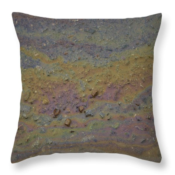 A Close-up Of A Parking Lot Oil Slick Throw Pillow by Joel Sartore