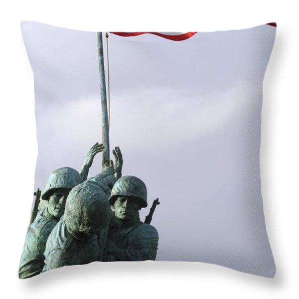 A Close Up Of The Iwo Jima Bronze Throw Pillow by Michael Wood