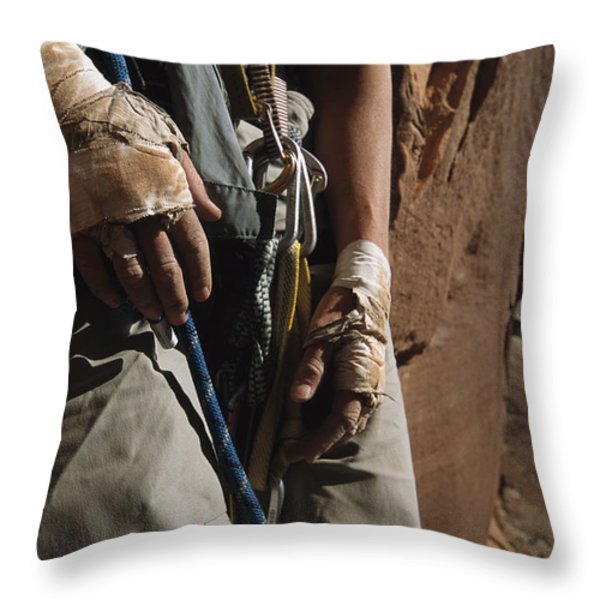 A Close View Of Rock Climber Becky Throw Pillow by Bill Hatcher