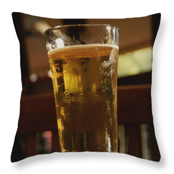 A Cool Glass Of Amber Beer Throw Pillow by Stephen St. John