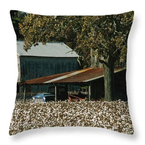 A Cotton Field Surrounds A Small Farm Throw Pillow by Medford Taylor