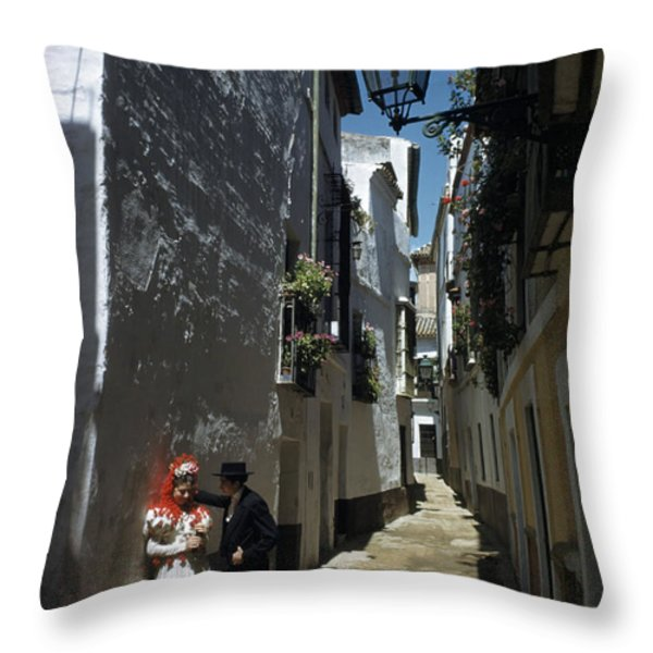 A Couple Lingers On The Sunny Side Throw Pillow by Luis Marden