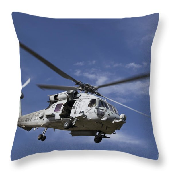 A Crew Chief Looks Out The Side Door Throw Pillow by Michael Wood