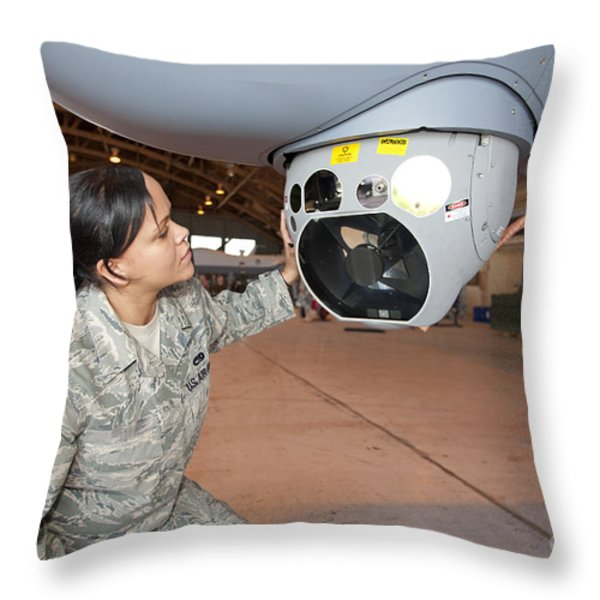 A Crew Chief Works On Mq-9 Reapers Throw Pillow by HIGH-G Productions