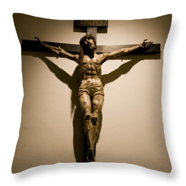 A Crucifix In The Old Saint Francis Throw Pillow by Stephen St. John
