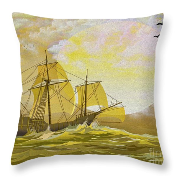 A Day at Sea Throw Pillow by Cheryl Young