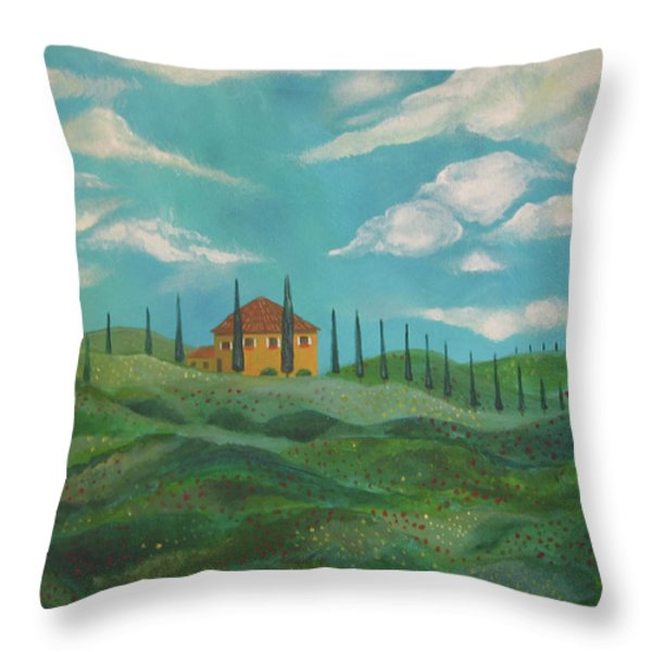 A Day In Tuscany Throw Pillow by John Keaton