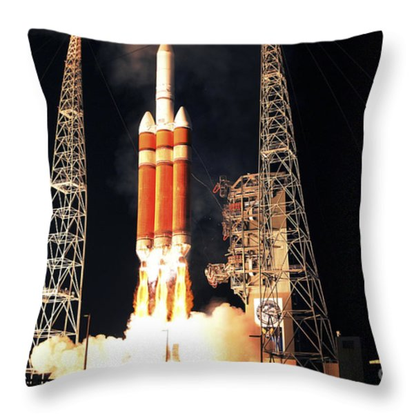 A Delta Iv Heavy Rocket Lifts Off Throw Pillow by Stocktrek Images