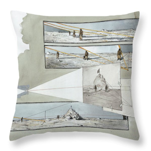 A Diagram Examines Photographs Throw Pillow by Richard Schlecht