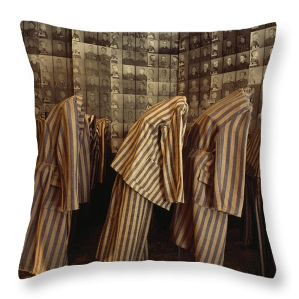 A Display Of Photographs And Uniforms Throw Pillow by James L. Stanfield