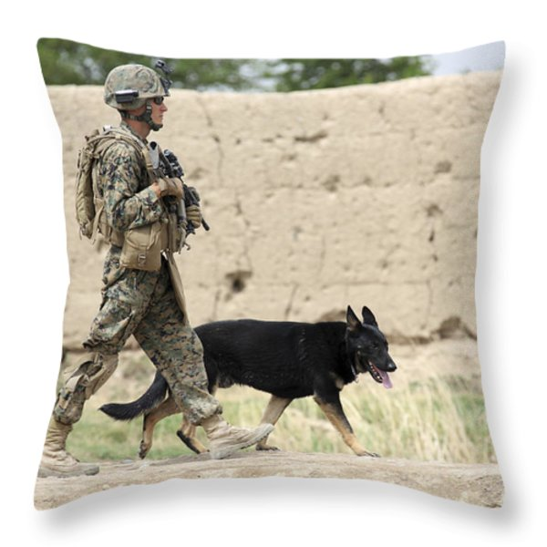 A Dog Handler Of The U.s. Marine Corps Throw Pillow by Stocktrek Images
