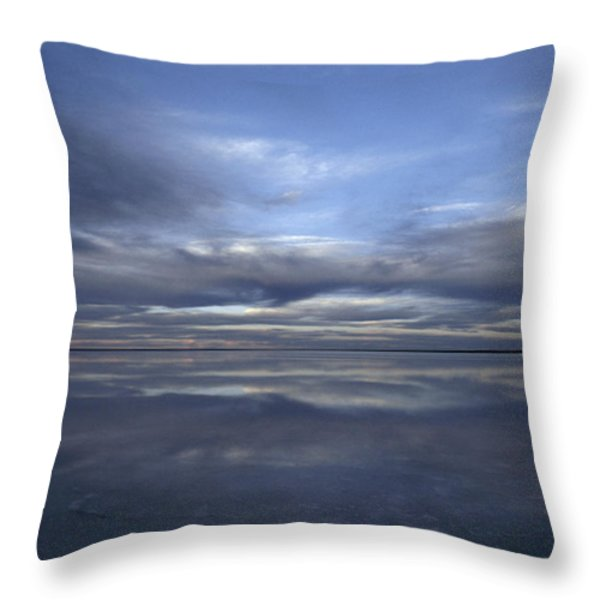 A Fading Sunset Reflects Off The Still Throw Pillow by Jason Edwards