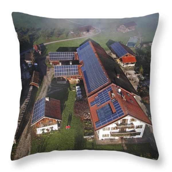 A Farm In Bavaria With Solar Throw Pillow by Michael Melford