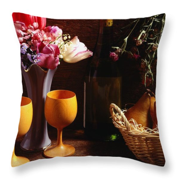A Floral Display Throw Pillow by David Chapman