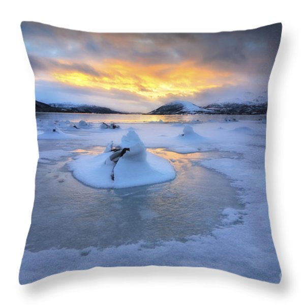 A Frozen Fjord That Is Part Throw Pillow by Arild Heitmann