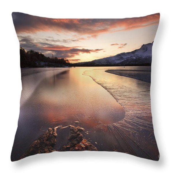 A Frozen Straumen Lake On Tjeldoya Throw Pillow by Arild Heitmann