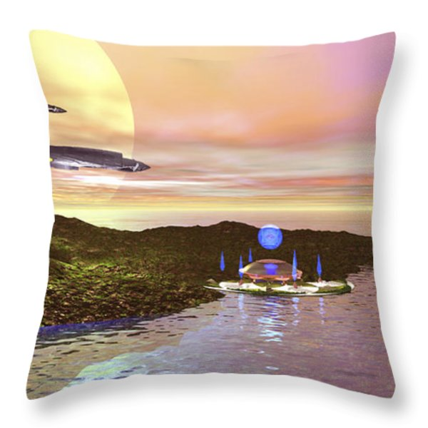 A Futuristic World On Another Planet Throw Pillow by Corey Ford