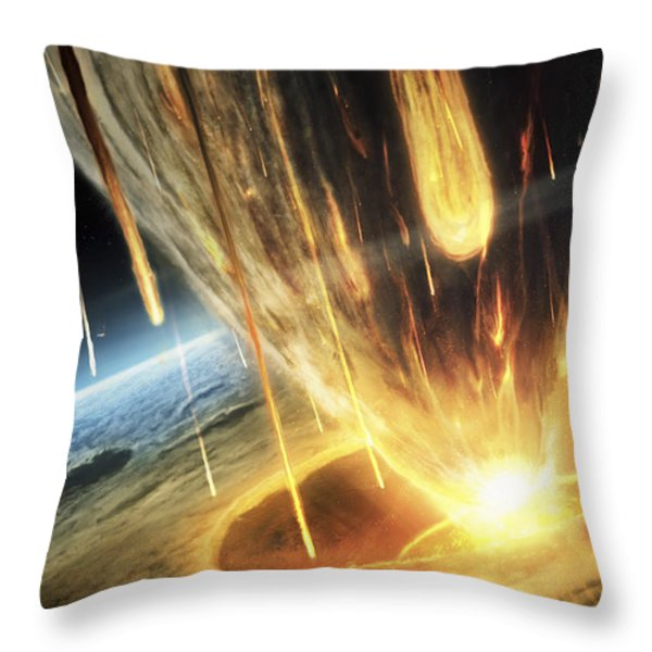A Giant Asteroid Collides Throw Pillow by Tobias Roetsch