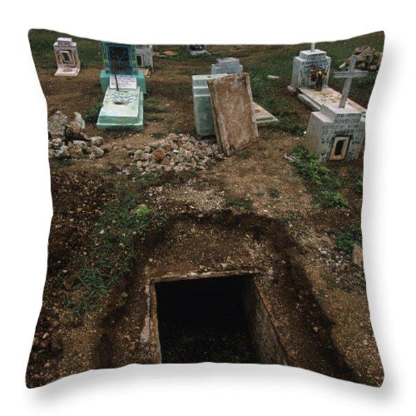A Graveyard Has Handpainted Stones Throw Pillow by Stephen Alvarez
