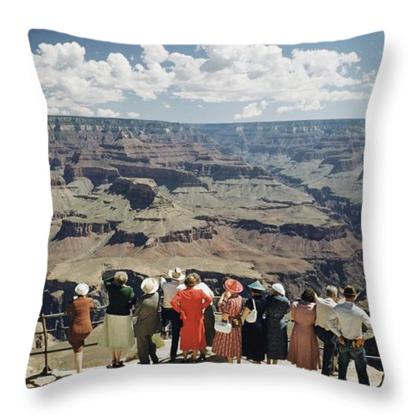 A Group Of Visitors At Hopi Point Throw Pillow by Justin Locke