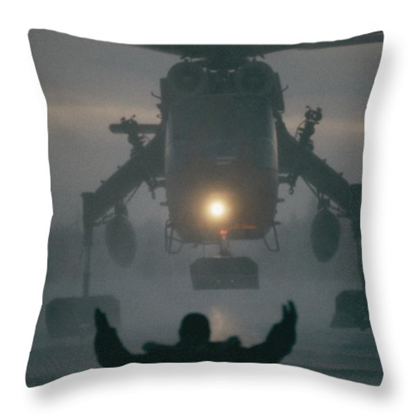 A Helicopter Lands At Fort Greeley Throw Pillow by Lowell Georgia