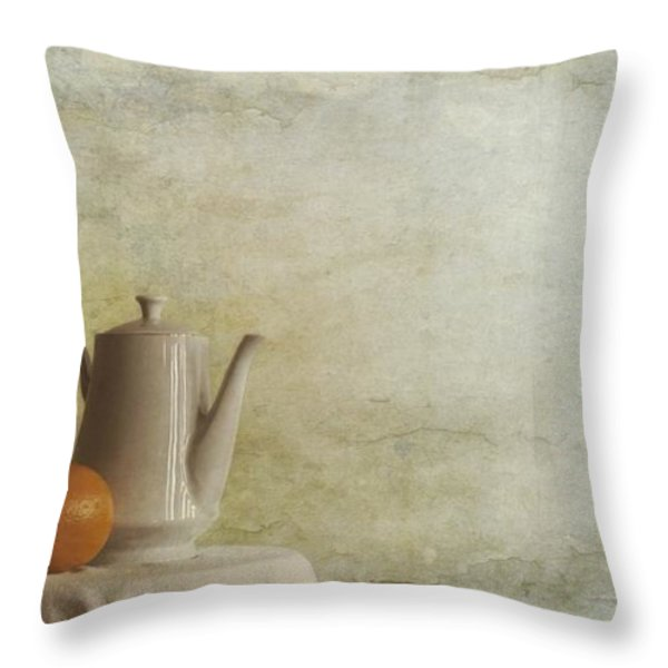 A Jugful Tea And A Orange Throw Pillow by Priska Wettstein