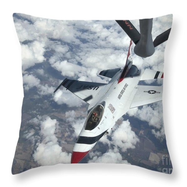 A Kc-135 Stratotanker Refuels An Air Throw Pillow by Stocktrek Images