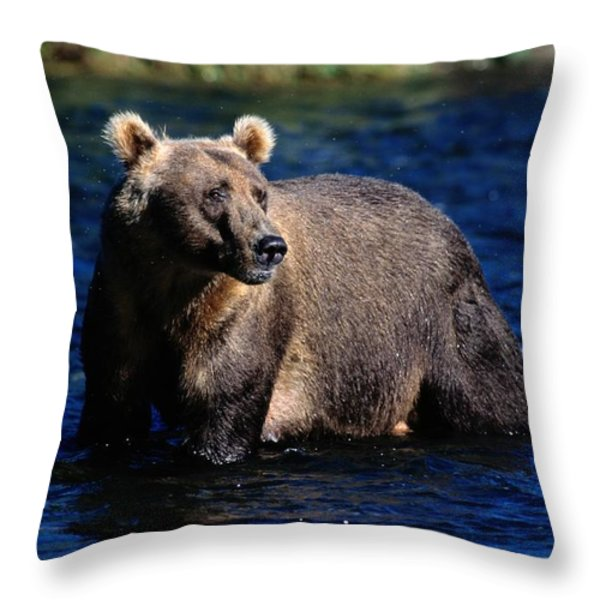 A Kodiak Brown Bear Wades In An Alaska Throw Pillow by George F. Mobley