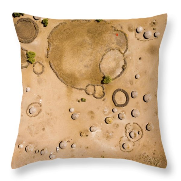 A Large Masai Boma With What Is Perhaps Throw Pillow by Michael Fay