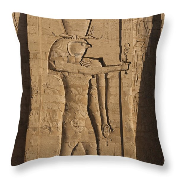 A Large Relief Of The God Horus Throw Pillow by Taylor S. Kennedy