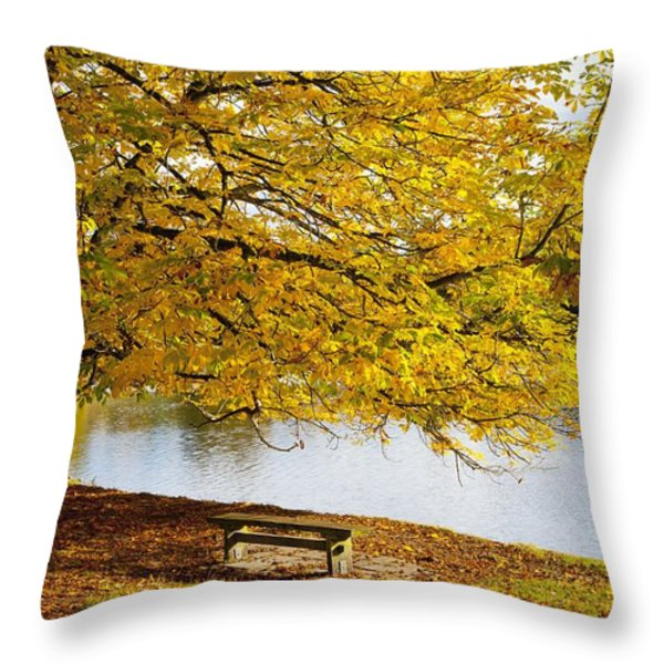 A Large Tree And Bench Along The Water Throw Pillow by John Short