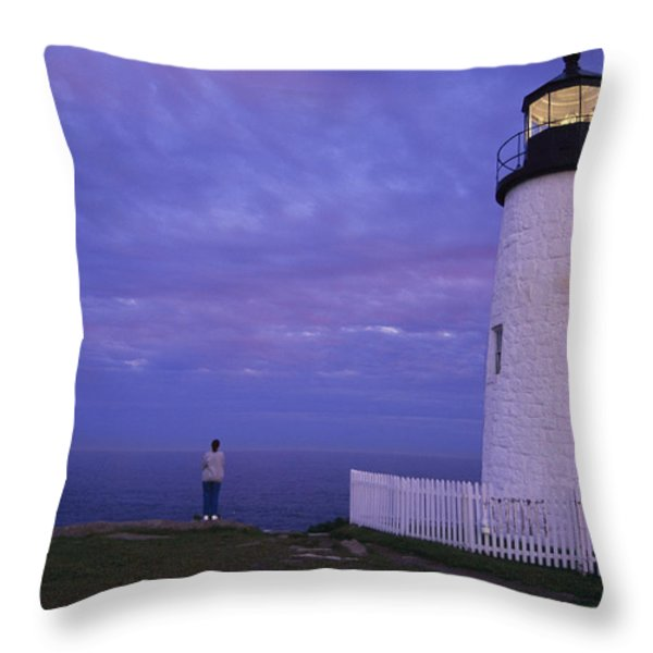 A Lighthouse Visitor Enjoys A Twilight Throw Pillow by Stephen St. John