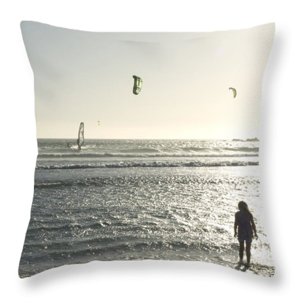 A Little Girl Plays In The Late Throw Pillow by Stacy Gold