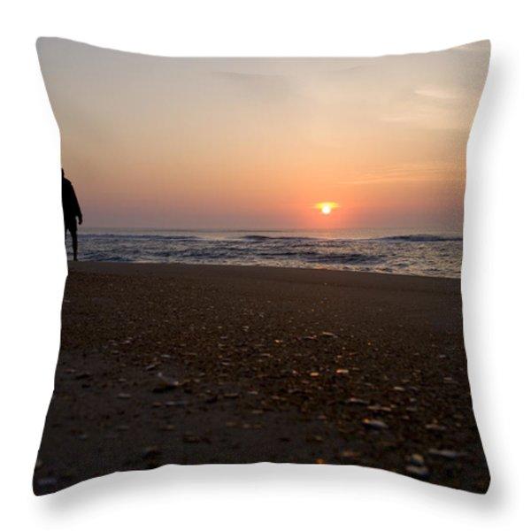 A Lone Figure Enjoys The Ocean Sunrise Throw Pillow by Stephen St. John