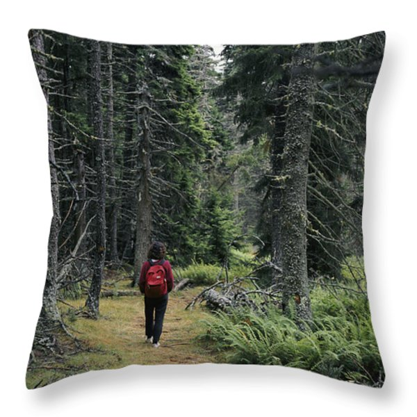 A Lone Hiker Enjoys A Wooded Trail Throw Pillow by Tim Laman