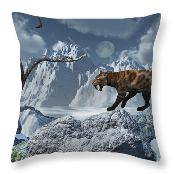 A Lone Sabre-toothed Tiger In A Cold Throw Pillow by Mark Stevenson