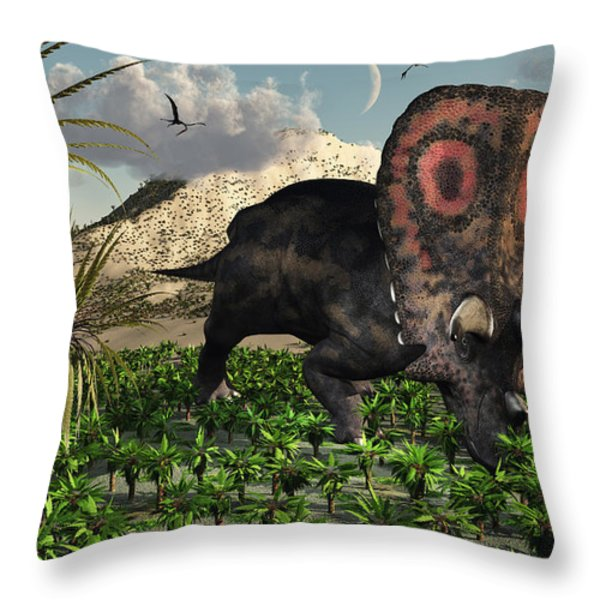 A Lone Torosaurus Dinosaur Feeding Throw Pillow by Mark Stevenson