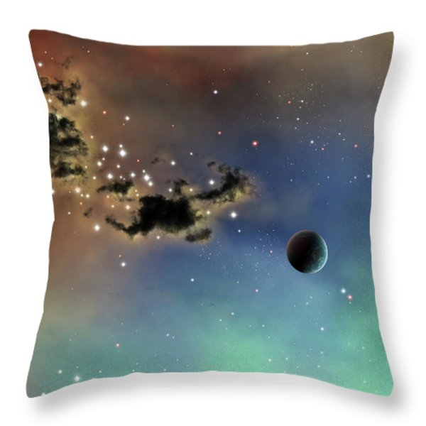 A Lonely Planet Is Lit By Two Stars Throw Pillow by Brian Christensen