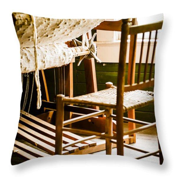 A Loom For Grandma Throw Pillow by Carolyn Marshall