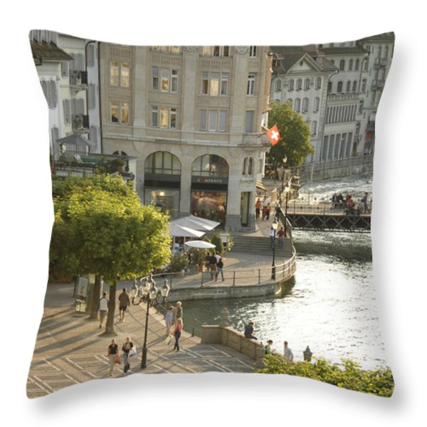 A Lucerne Street Scene In The City Throw Pillow by Annie Griffiths