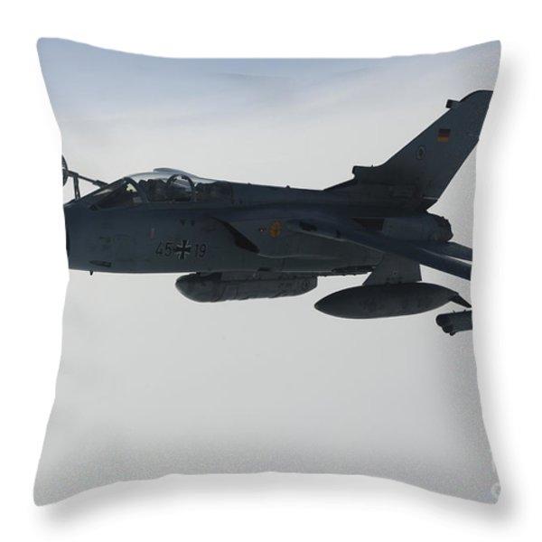 A Luftwaffe Tornado Ids Refueling Throw Pillow by Gert Kromhout