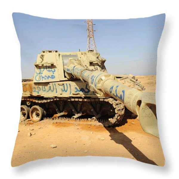A M109 Howitzer Destroyed By Nato Throw Pillow by Andrew Chittock