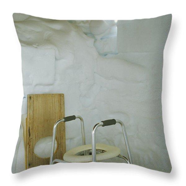 A Makeshift Bathroom Is Set Throw Pillow by Gordon Wiltsie