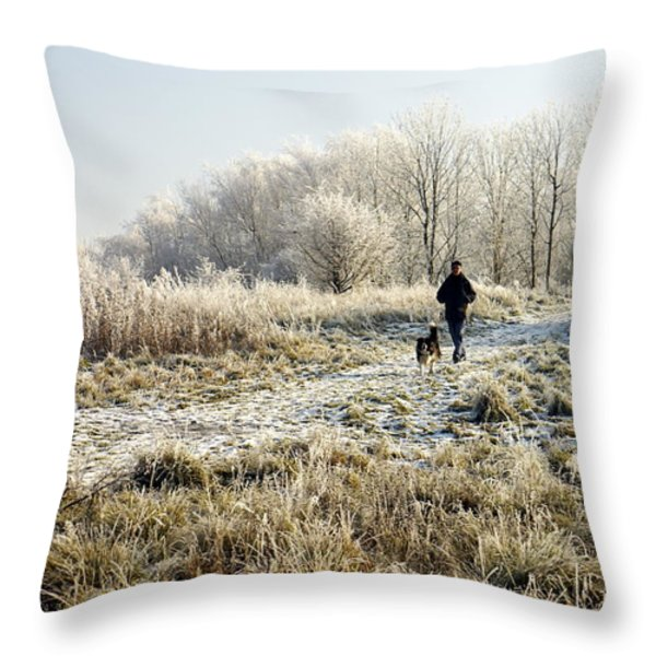 A Man And His Dog Throw Pillow by John Chatterley