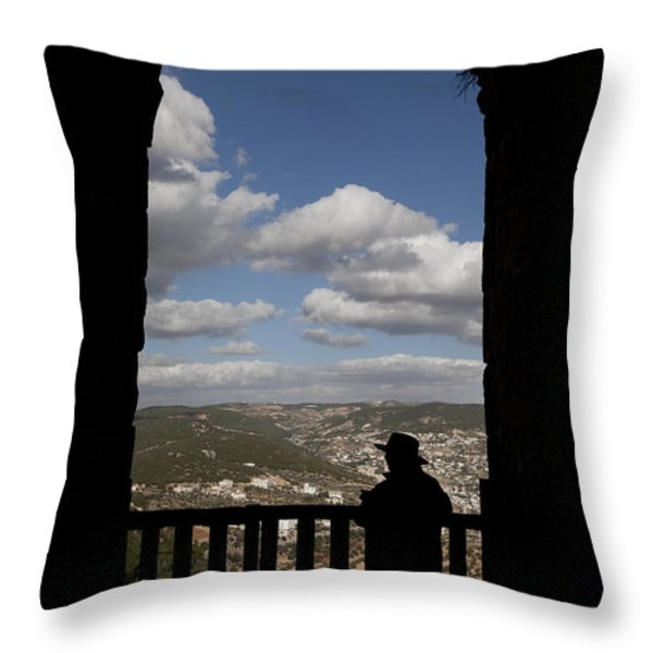 A Man Looks Out Of Ajloun Castle Throw Pillow by Taylor S. Kennedy