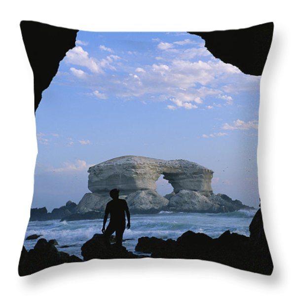 A Man Silhouetted Against La Portada Throw Pillow by Joel Sartore