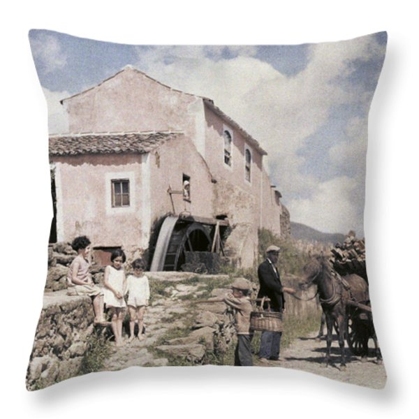 A Man Transports Wood In Terceira Throw Pillow by Wilhelm Tobien